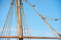 Olinowanie i arkany antyczny żeglowanie statek Fotografia Stock