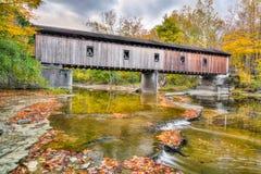 Olins Dewey Road Covered Bridge in Autumn Royalty Free Stock Photos