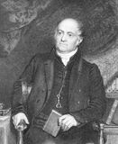 Olinthus Gregory. (1774-1841) on engraving from the 1800s. English mathematician, author and editor. Engraved by H.Robinson after a painting by R.Evans and Royalty Free Stock Images
