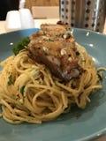 Olio d'aglio de spaghetti image libre de droits