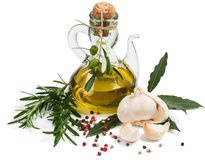 Olio d'oliva, aglio, rosmarini, alloro e pepe vergini Immagini Stock