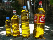 Olio d'oliva in bottiglie di plastica Fotografia Stock Libera da Diritti
