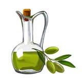 Olio d'oliva con l'illustrazione di vettore delle olive dipinta Fotografia Stock Libera da Diritti