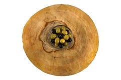 Olio d'oliva con le olive isolate su fondo bianco Fotografia Stock