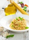 Olio d'oliva e peperoncino di Spageti Immagine Stock Libera da Diritti