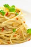Olio d'oliva e peperoncino di Spageti Fotografia Stock