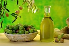 Olio d'oliva vergine extra Fotografie Stock