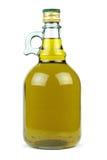 Olio d'oliva vergine extra in una bottiglia di vetro isolata su fondo bianco Fotografia Stock Libera da Diritti