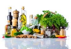Olio da cucina, erbe e spezie su fondo bianco Immagine Stock Libera da Diritti