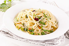 Olio de l'aglio e de spaghetti Photographie stock