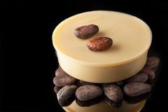 Olio del cacao e fave di cacao immagini stock libere da diritti