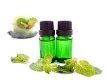 Olio dell'aroma della menta piperita Immagini Stock