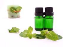 Olio dell'aroma della menta piperita su fondo bianco Fotografie Stock Libere da Diritti