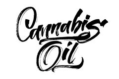 Olio della cannabis Iscrizione moderna della mano di calligrafia per la stampa di serigrafia Immagine Stock