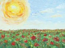 Olio della pittura su tela il sole sopra il campo del papavero Immagini Stock