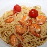 Olio di aglio degli spaghetti Fotografie Stock