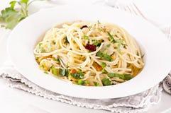 Olio di aglio e degli spaghetti Fotografia Stock