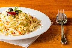 Olio di aglio e degli spaghetti Immagine Stock