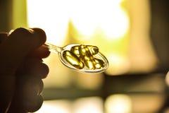 Olio di fegato di merluzzo Fotografia Stock
