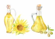 Olio di girasole dell'acquerello royalty illustrazione gratis