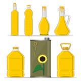 Olio di girasole giallo della bottiglia di vetro royalty illustrazione gratis