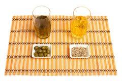 Olio di girasole, olio d'oliva Fotografie Stock Libere da Diritti