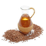 Olio di lino con i semi di lino Fotografie Stock Libere da Diritti