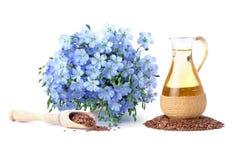 Olio di lino con i semi di lino Immagine Stock Libera da Diritti