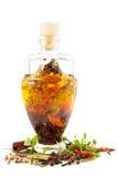 Olio di oliva con le spezie Immagini Stock