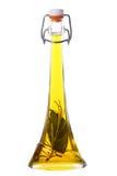 Olio di oliva con rosmarino e la foglia di alloro Fotografie Stock