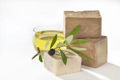 Olio di oliva del sapone di bagno Fotografia Stock