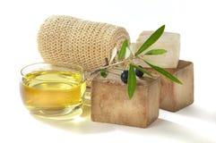 Olio di oliva del sapone di bagno Fotografie Stock