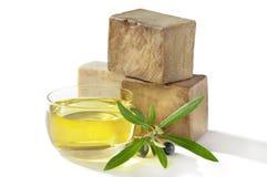 Olio di oliva del sapone di bagno Fotografie Stock Libere da Diritti
