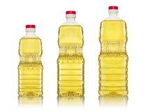 Olio di oliva e bottiglie dell'olio di girasole Immagine Stock