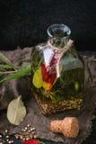 Olio di oliva piccante Fotografia Stock