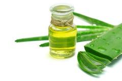 Olio di vera dell'aloe in bottiglia di vetro Fotografia Stock