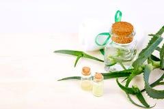 Olio di vera dell'aloe in bottiglia di vetro ed asciugamano per la stazione termale Fotografie Stock Libere da Diritti