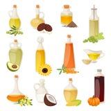 Olio differente dell'alimento in bottiglie isolate su bianco con la cottura del liquido trasparente e su naturale, di verdure, ve Fotografia Stock