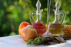 Olio ed aceto di oliva Fotografie Stock Libere da Diritti