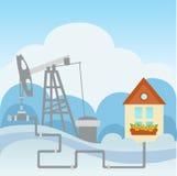Olio ed impianto di lavorazione e casa del gas Immagini Stock Libere da Diritti