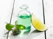 Olio essenziale della menta di rinfresco e raffreddi Immagini Stock Libere da Diritti