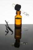 Olio essenziale della vaniglia in bottiglia ambrata con i baccelli di vaniglia e il dro Fotografia Stock Libera da Diritti