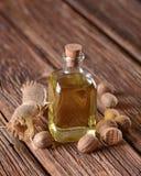 Olio essenziale di noce moscata Fotografia Stock Libera da Diritti
