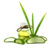 Olio essenziale di vera dell'aloe sulle foglie tropicali Fotografie Stock Libere da Diritti