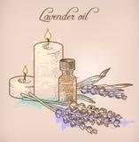Olio essenziale e candele della lavanda Fotografie Stock Libere da Diritti