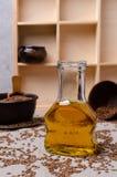 Olio organico del lino in vetro immagine stock libera da diritti