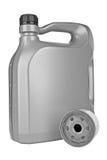 Olio per motori e filtro dell'olio Fotografia Stock