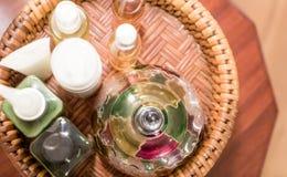 Olio tailandese di massaggio ed altri prodotti Fotografie Stock Libere da Diritti
