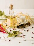 Olio vegetale in una bottiglia con i condimenti e le spezie su un fondo di legno bianco Fotografie Stock Libere da Diritti