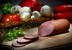 Olitory. Still life with wurst Royalty Free Stock Images